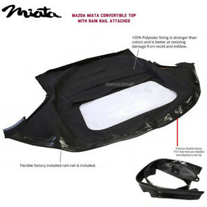 Mazda Miata Convertible Top Attached pre installed Rain Rail Black Cabrio Pc
