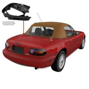 Mazda Miata Convertible Top pre installed Rain Rail Tan Cabrio Pc 1990 2005