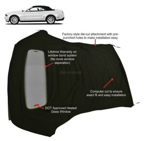 Ford Mustang 05 14 Convertible Soft Top Defroster Glass Window Black Sailcloth
