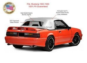 Ford Mustang Convertible Soft Top Replacement Glass Window White Vinyl 1983 90