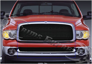 Fits 2002 2005 Dodge Ram 1500 2500 Black Billet Grille Upper Lower Combo 2pc