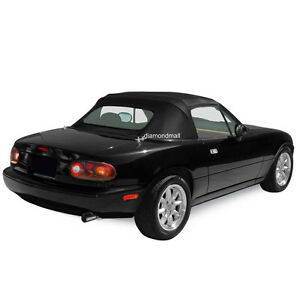 Mazda Miata Convertible Soft Top Heated Glass Window Black Cabrio 1990 05