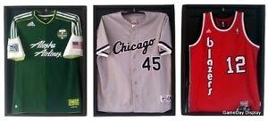 Lot Of 3 Sports Jersey Display Cases And Hangers Frame Black Shadow Box Soccer B
