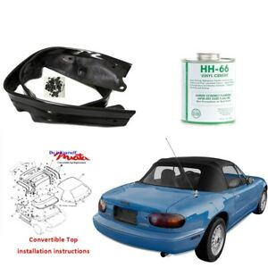 Mazda Miata 1990 05 Convertible Top Kit W Plastic Window Rain Rail Black Cab