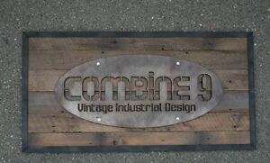 Modern Vintage Industrial Sign Custom Steel reclaimed Wood Urban Commercial