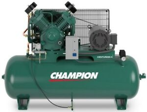 Champion Air Compressor Hrv10 8 10 Hp 80 Gal Three Phase Start stop 230 Volt