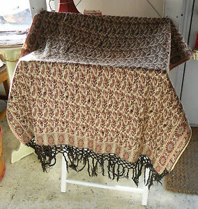 Antique Vtg Woven Paisley Shawl Throw Table Throw Tiny Mirrors Burgundy India