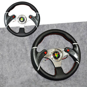 Universal 320mm Black Red Stitch Pvc Leather 6 Hole Jdm Steering Wheel Horn