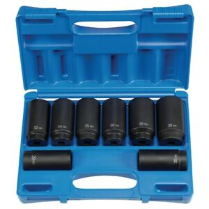 Grey Pneumatic 1708sn Spindle Axle Nut Impact Socket Set Metric 12 Point