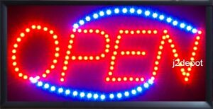 Us Seller Animated Led Neon Light Open Sign On off Switch chain 19x10x1