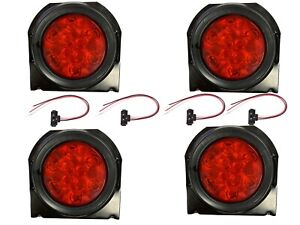 2 Red 10 Led 4 Round Truck Trailer Brake Stop Turn Tail Lights With Brackets