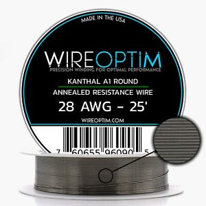 28 Gauge Awg Kanthal A1 Wire 25 Length Ka1 Wire 28g Ga 0 32 Mm 25 Ft