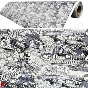 60x 59in Jdm Cartoon Black White Sticker Bomb Vinyl Wrap Decal Handle