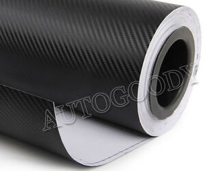 12 X 60 Black Carbon Fiber Vinyl Film Wrap 3d Bubble Free Air Release 1ftx5ft