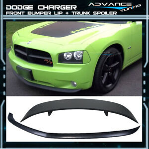 For 06 10 Dodge Charger Pu Front Bumper Lip Rear Trunk Lid Spoiler Wing