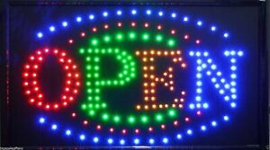 Large Animated Led Neon Business Open Sign W motion On off Switch 21 X13 004