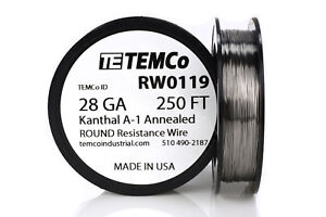 Temco Kanthal A1 Wire 28 Gauge 250 Ft Resistance Awg A 1 Ga