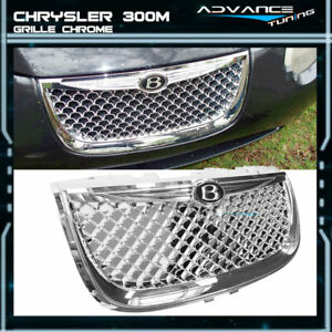 Fits 99 04 Chrysler 300m Diamond Chrome Bumper Mesh Hood Grill With Emblem Abs