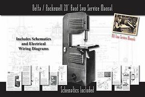 Delta rockwell 20 Band Saw Owners Service Manual Parts Lists Schematics Etc