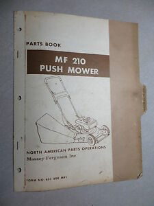 Massey Ferguson 210 Push Mower Parts Book