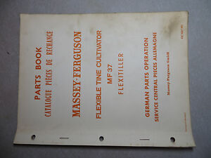 Massey Ferguson 37 Flexible Tine Cultivator Parts Book