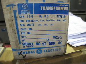 Ge 100 Kva 1 Phase 230 480 X 120 Volt Control Transformer New T812