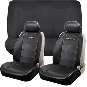 6pcs Dodge Elite Synthetic Leather Sideless Seat Cover Bench Universal Set