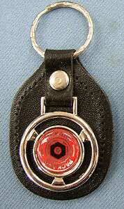 Vintage Red Packard Steering Wheel Black Leather Keyring Key Fob