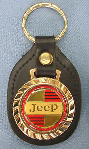 Vintage Classic Jeep Logo Royal Classic Gold Key Ring Black Leather Usa Fob