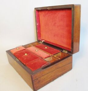Large Antique 19th C English Rosewood Jewelry Box C 1870s 12 X 8 5