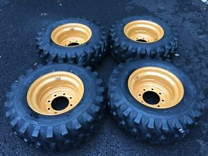 4 New 12 16 5 Skid Steer Tires wheels rims For Case 1845c Others 12x16 5