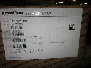 Rexnord Table Top Chain Lf1873tk6 Or 10177571 10 Feet new