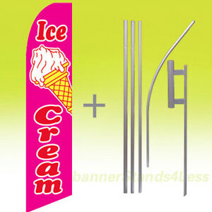 Ice Cream Swooper Flag Kit Feather Flutter Banner Sign 15 Tall Pb
