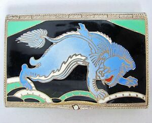 3 1 Rare Antique Art Deco Enameled Sterling Silver Compact With Chinese Foo Dog