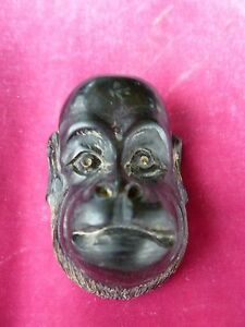 Unusual Vintage Monkey Or Ape Face Netsuke Carved Of Box Wood Signed