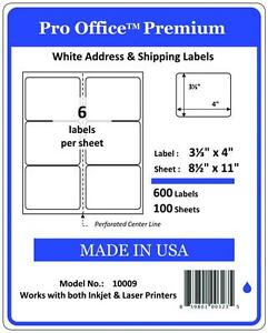 Pro Office 4 X 3 1 3 Self adhesive Shipping Address Label fba 6 Labels sheets