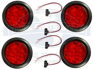 4 Red 10 Led 4 Round Truck Trailer Brake Stop Turn Tail Lights