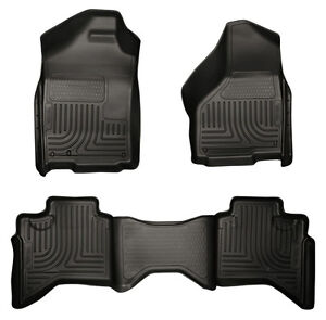 2002 2009 Dodge Ram Quad Cab 1500 2500 3500 Husky Weatherbeater Floor Mats Black