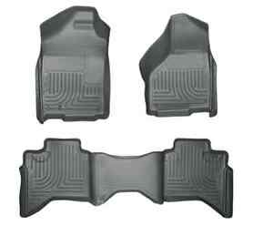 2002 2009 Dodge Ram Quad Cab 1500 2500 3500 Husky Weatherbeater Floor Mats Grey