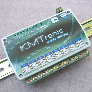 Kmtronic Lan Ethernet Ip 8 Channels Relay Board Web Box With Din Rail Clips