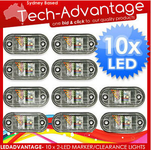 10 X Cool White Waterproof 2 led Marker clearance trailer ute Lights