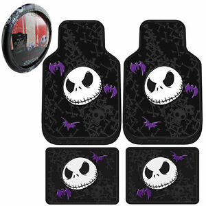 5 Pc Nightmare Before Christmas Rubber Floor Mats Steering Wheel Cover Set New