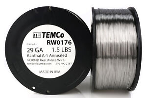 Temco Kanthal A1 Wire 29 Gauge 1 5 Lb 4840 Ft Resistance Awg A 1 Ga