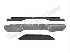 For 2007 2015 Frontier Rear Bumper Face Bar Silver Top Center lower Pad 3pcs