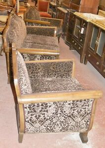 Antique Set 3 P Sofa 2 Armchair Elbow Chair Newly Upholstered Victorian Era