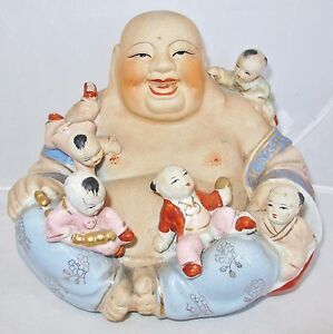 8 25 Vintage Chinese Enameled Painted Porcelain Hotei Buddha With Children