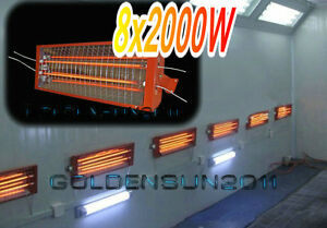 8 Sets 2kw Spray Baking Booth Infrared Paint Curing Lamp Heating Light Heater A