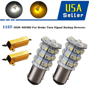 4x 1157 Switchback Dual Color White Amber Turn Singal Led Bulbs Load Resistors