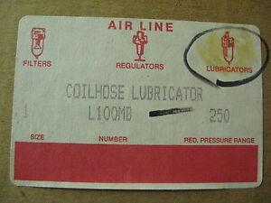 New Coilhose Pneumatics In line Air Line 1 Lubricator L100mb Metal Bowl 250 Pr