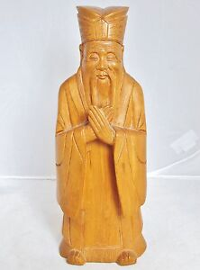 Vintage Chinese Hand Carved Boxwood Wood Official Or Immortal Statue 9 35